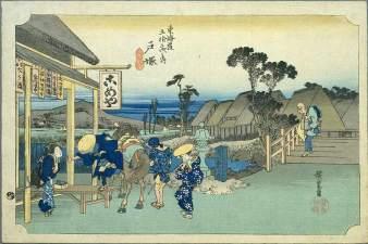 53 Stations of the Tokaido (Totsuka), Hiroshige, 1831-4.