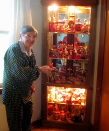 Janell and her collection at home in 2013.